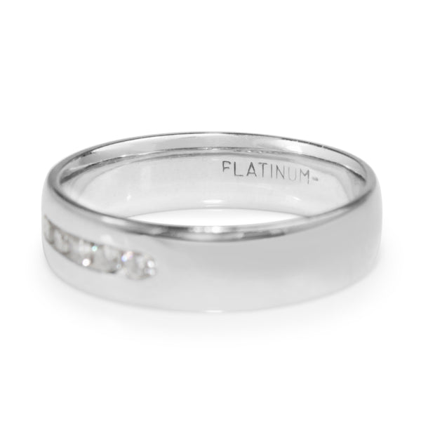 Platinum Vintage Mens Diamond Band