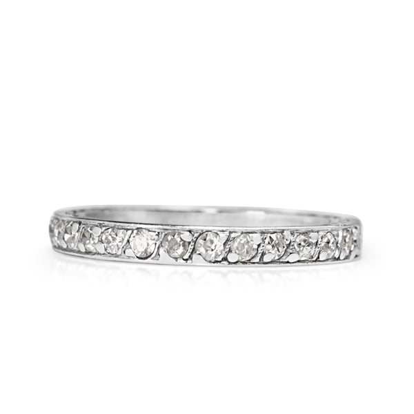 Platinum Art Deco Single Cut Diamond Band