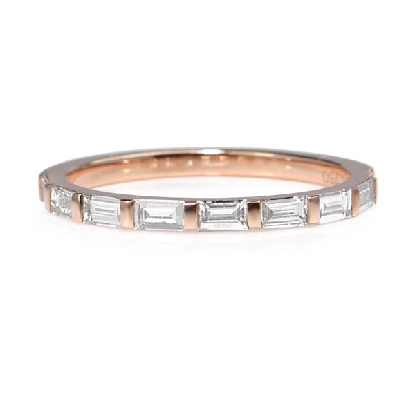 18ct Rose Gold Diamond Baguette Ring