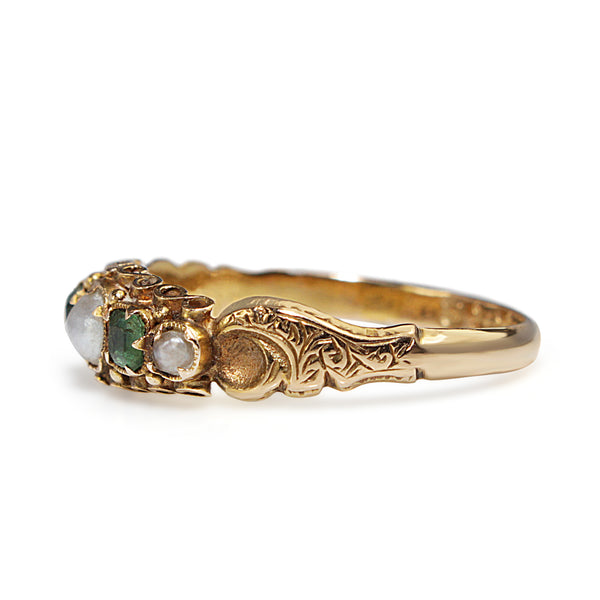 15ct Yellow Gold Victorian Emerald and Pearl Ring