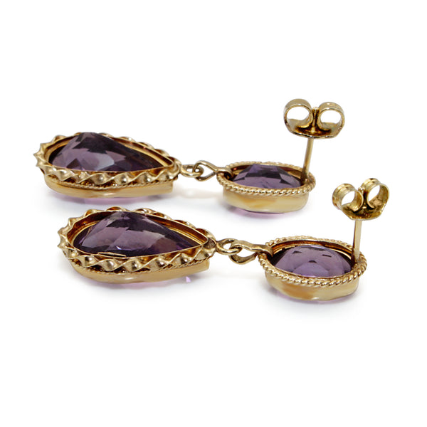 14ct Yellow Gold Vintage Amethyst Drop Earrings