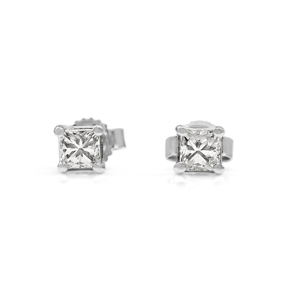 14ct White Gold .50ct Princess Cut Diamond Studs