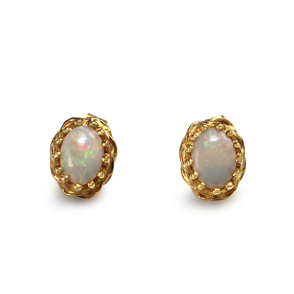 14ct Yellow Gold Opal Stud Earrings