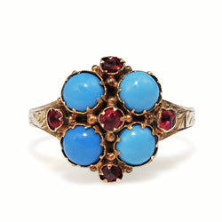 9ct Yellow Gold Antique Turquoise and Ruby Ring