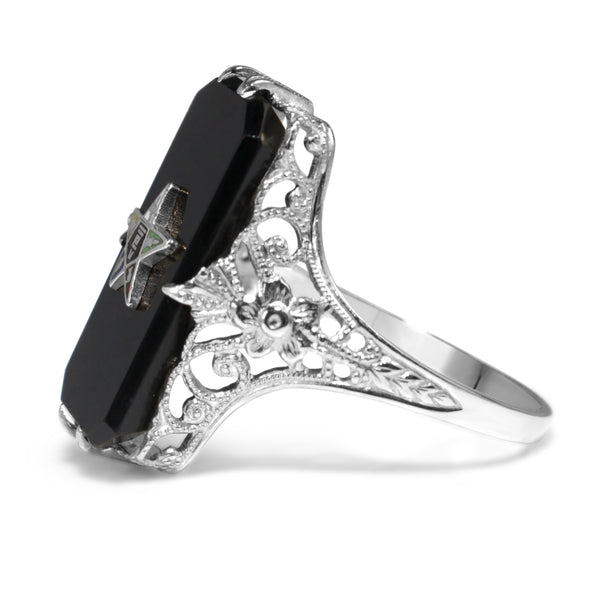 14ct White Gold Antique Masonic Onyx and Enamel Ring