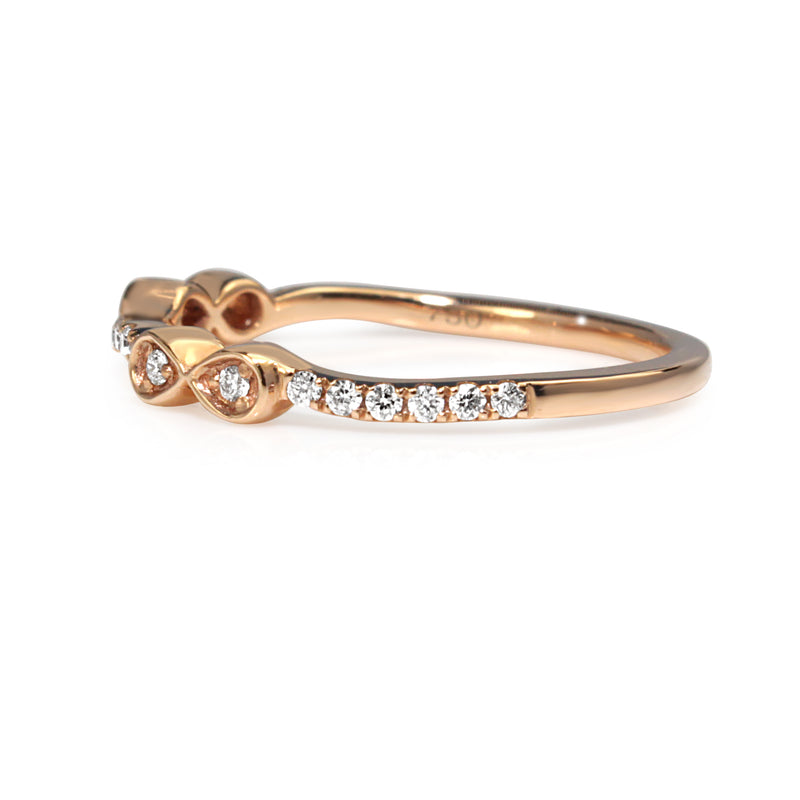 18ct Rose Gold 'Bow' Style Diamond Band