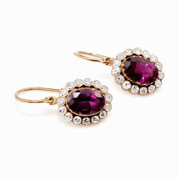 9ct Yellow Gold Antique Rhodolite Garnet and Diamond Earrings