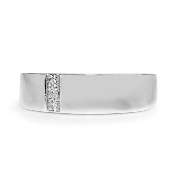9ct White Gold Estate Diamond Band