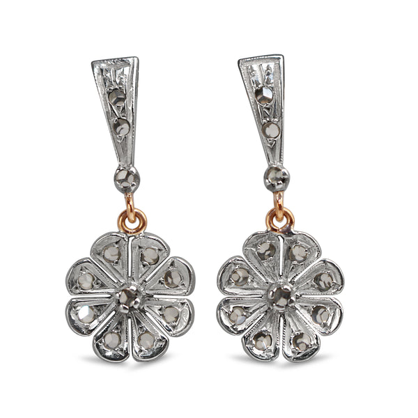 14ct White and Rose Gold Antique Rose Cut Diamond Earrings