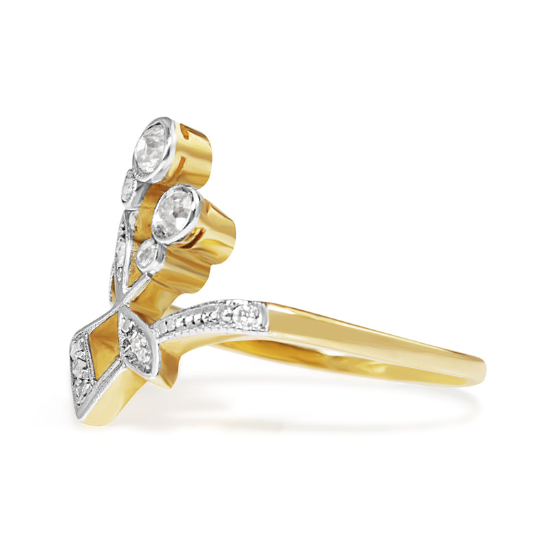 18ct Yellow and White Gold Art Nouveau Old Cut Diamond Ring