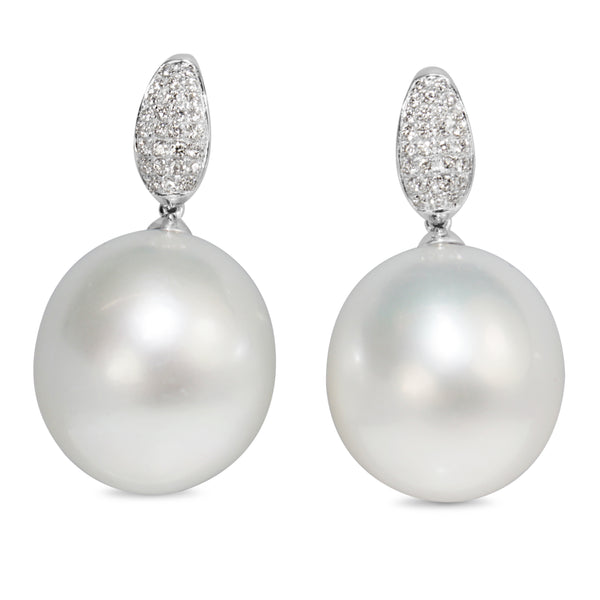 18ct White Gold 16mm South Sea Pearl and Diamond Earrings