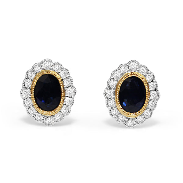 18ct Yellow and White Gold Sapphire and Diamond Earrings