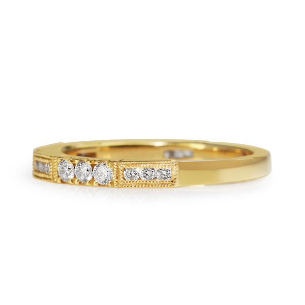 18ct Yellow Gold Vintage Style Diamond Band Ring