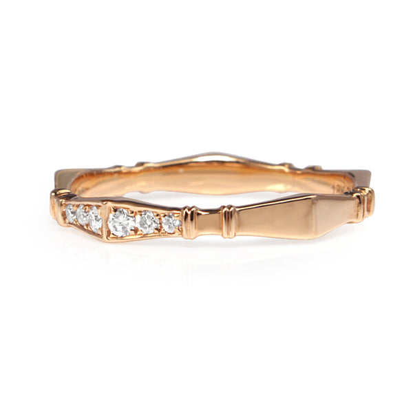 18ct Rose Gold Vintage Style Diamond Half Hoop Band