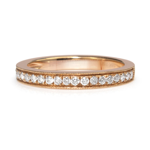 18ct Rose Gold Diamond Half Hoop Band