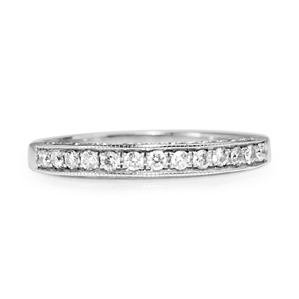 14ct White Gold Diamond Band with Engraved Sides