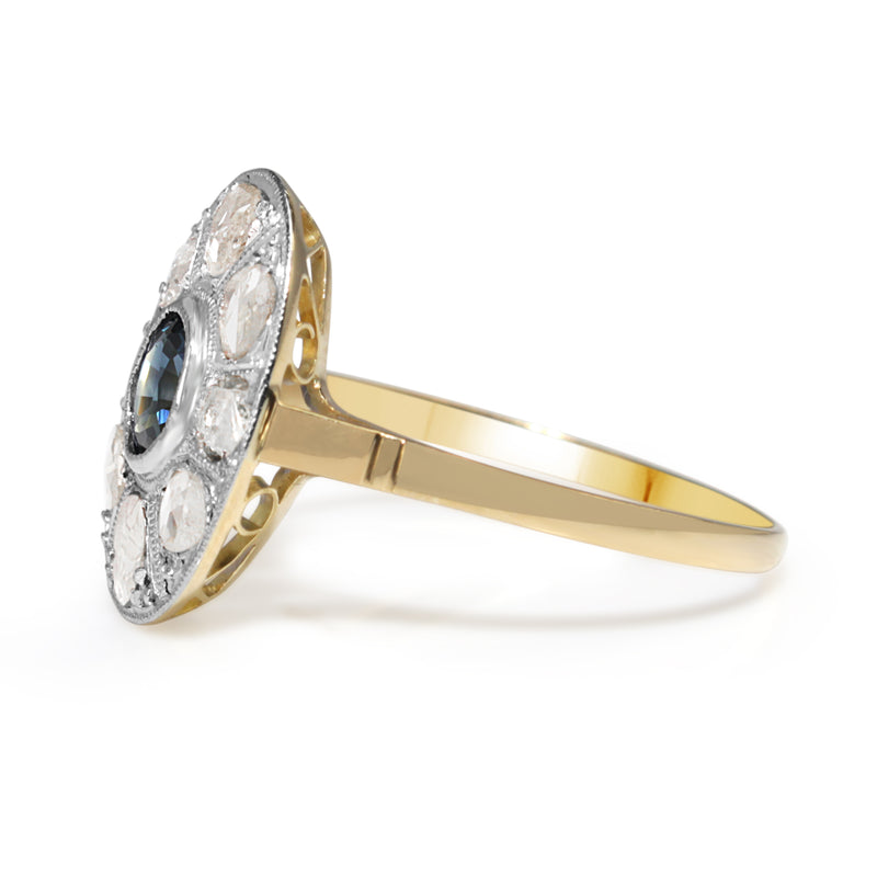 18ct Yellow and White Gold Antique Rose Cut Diamond and Sapphire Ring