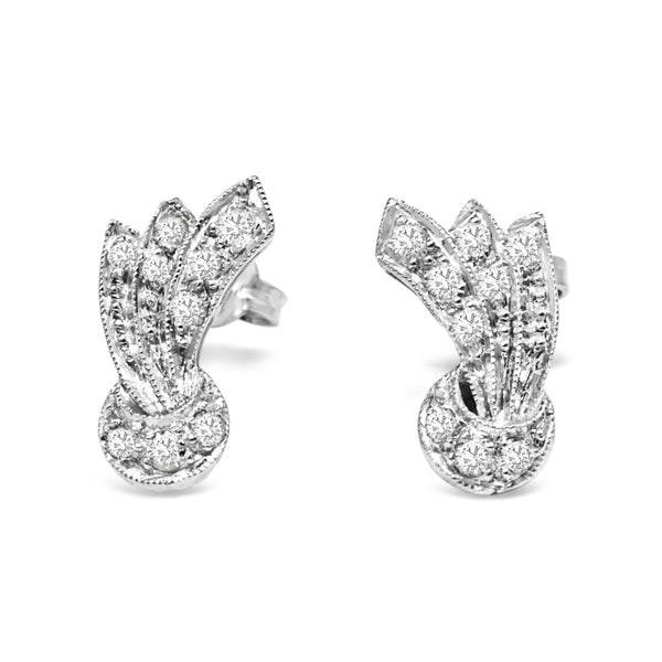Palladium Art Deco Single Cut Diamond Stud Earrings