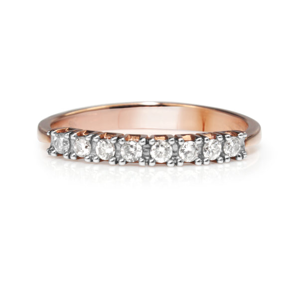 9ct Rose and White Gold Fine Diamond Band