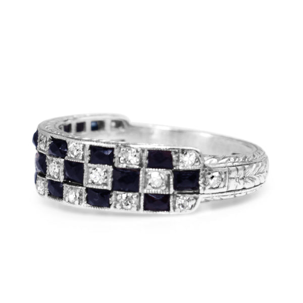 Platinum Art Deco Sapphire and Diamond Checkerboard Style Ring