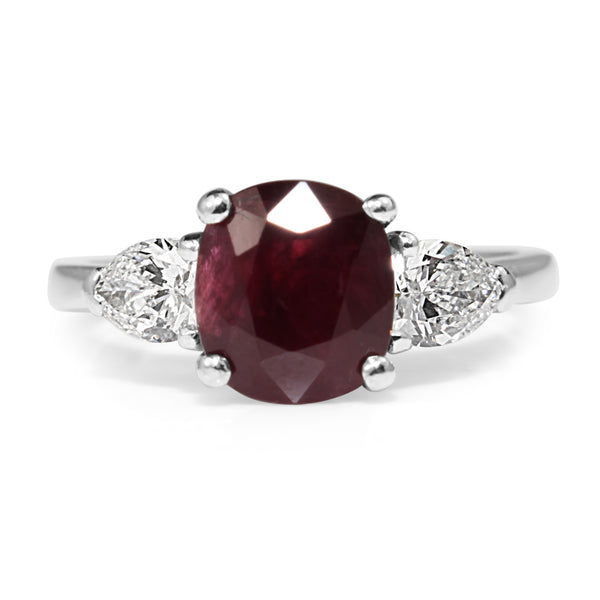 Platinum Ruby and Diamond 3 Stone Ring