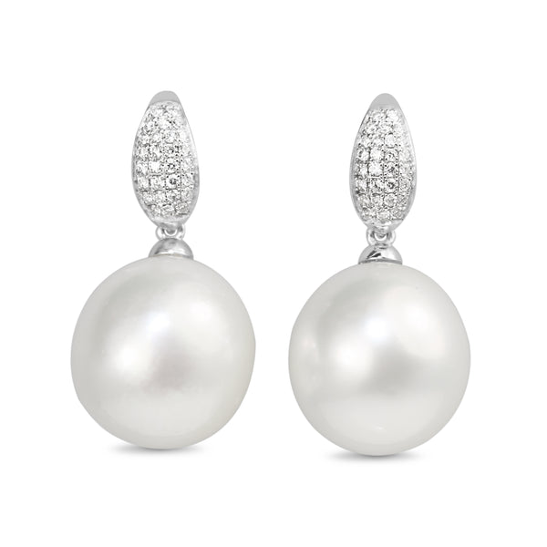 18ct White Gold 14.5mm South Sea Pearl and Diamond Earrings