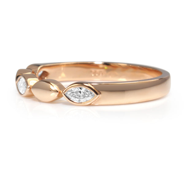 18ct Rose Gold Marquise Shaped Diamond Band