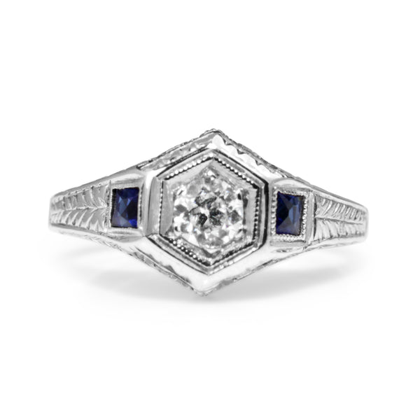 18ct White Gold Art Deco Old Cut Diamond and Sapphire Ring