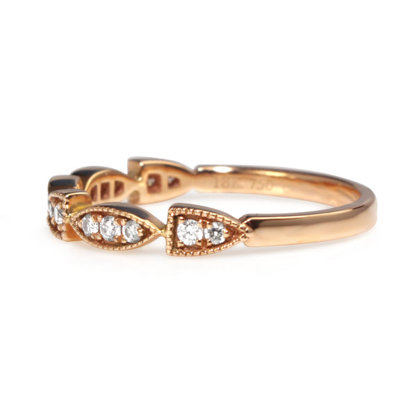 18ct Rose Gold Vintage Style Diamond Band