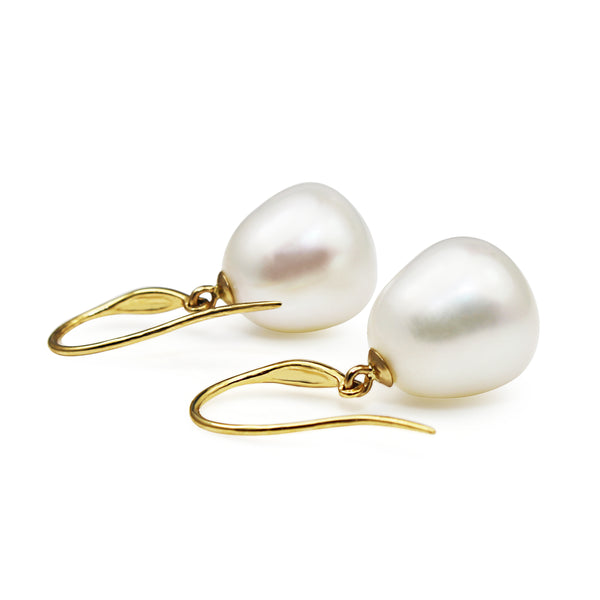 18ct Yellow Gold 13mm South Sea Pearl Earrings
