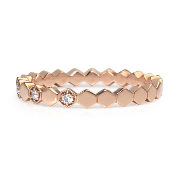 9ct Rose Gold 'Honeycomb' Diamond Ring