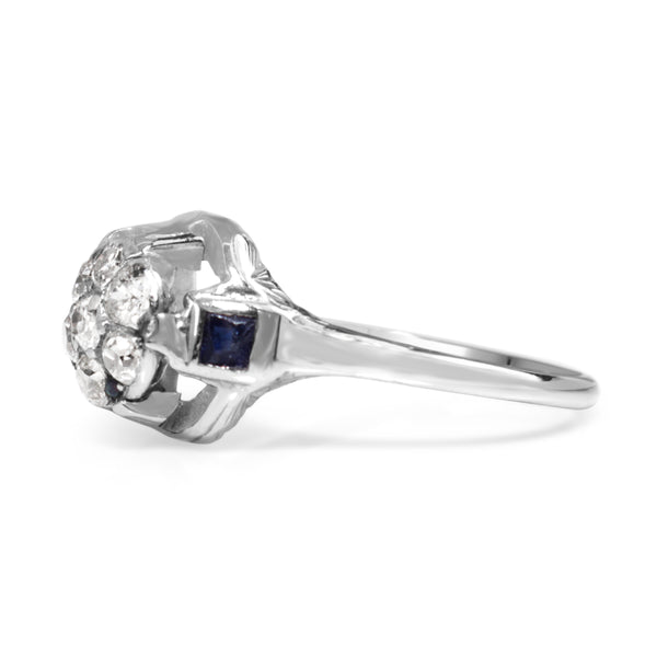 18ct White Gold Art Deco Diamond and Sapphire Cluster Ring