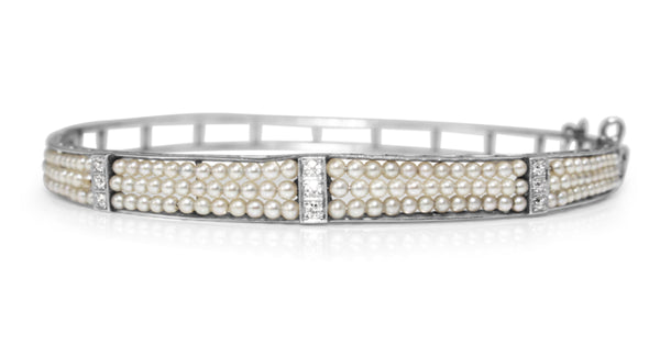 Platinum Antique Cultured Pearl and Diamond Bangle