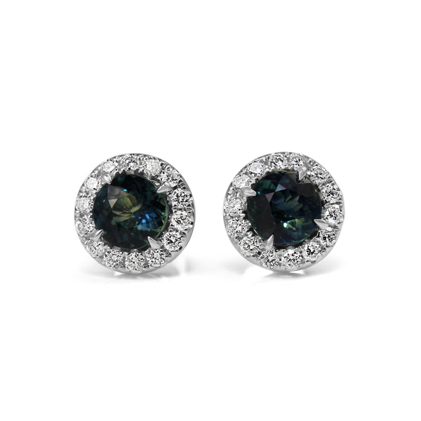 18ct White Gold Teal Sapphire and Diamond Halo Earrings