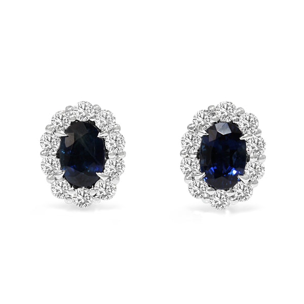 18ct White Gold Sapphire and Diamond Halo Stud Earrings