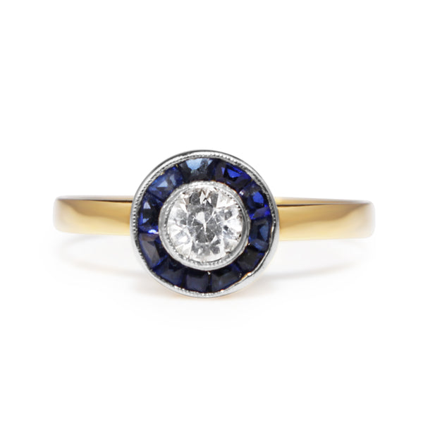 18ct Yellow and White Gold Art Deco Sapphire and Diamond 'Target' Ring