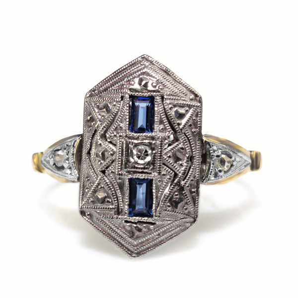18ct Yellow and White Gold Art Deco Sapphire and Old Cut Diamond Ring