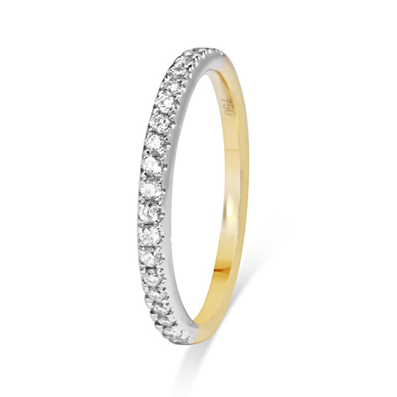 18ct Yellow and White Gold 1.9mm Diamond Band