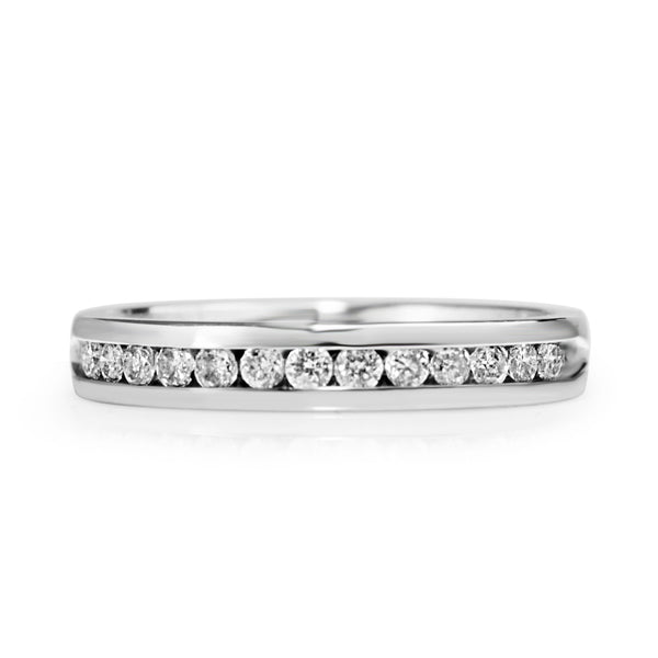 14ct White Gold Channel Set Diamond Band