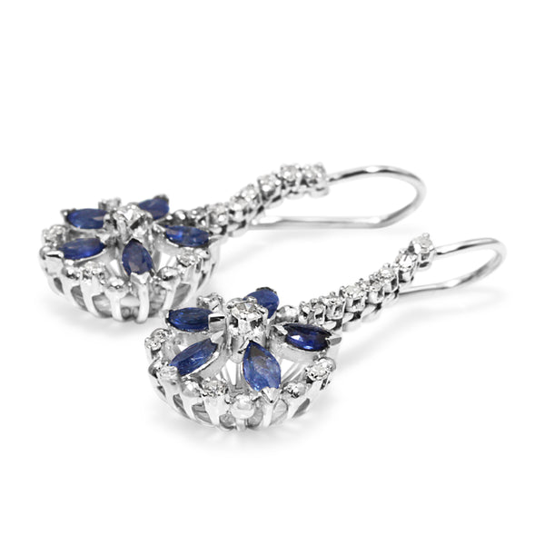Palladium Vintage Diamond and Sapphire Drop Earrings