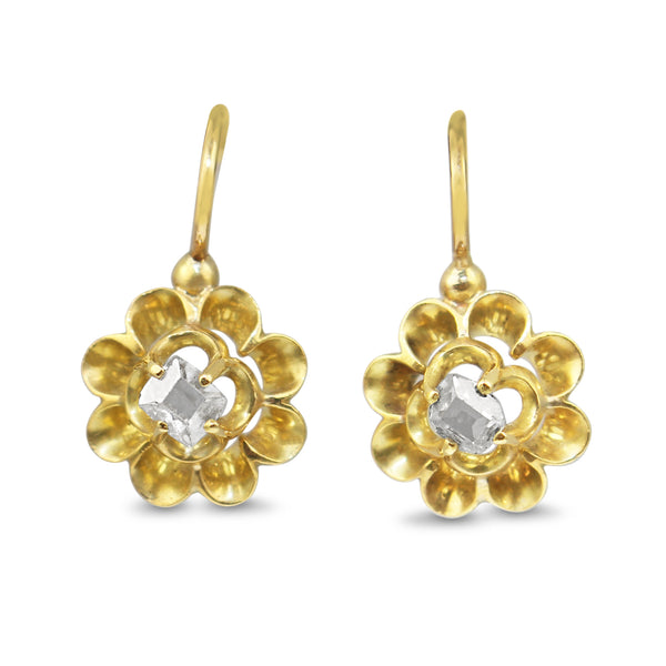 18ct Yellow Gold Antique Rose Cut Buttercup Earrings
