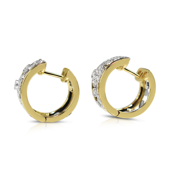 9ct Yellow and White Gold Floral Diamond Hoop Earrings