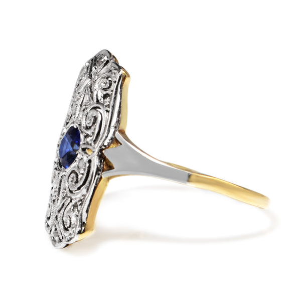 18ct Yellow and White Art Deco Sapphire and Diamond Ring