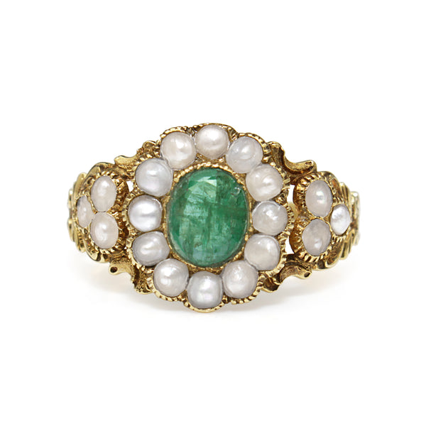 15ct Yellow Gold Antique Emerald and Pearl Daisy Ring