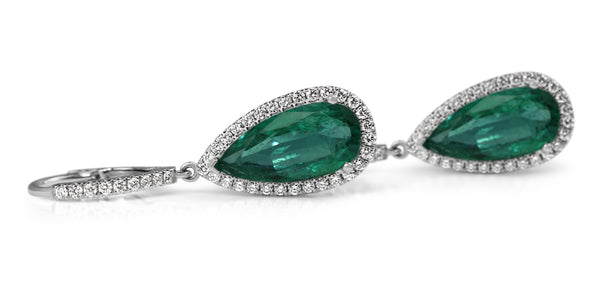 18ct White Gold Teardrop Emerald and Diamond Halo Earrings