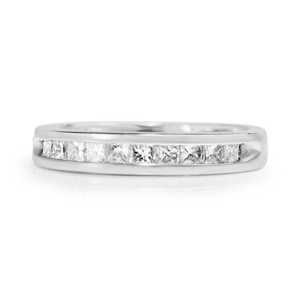 14ct White Gold Vintage Channel Set Diamond Band
