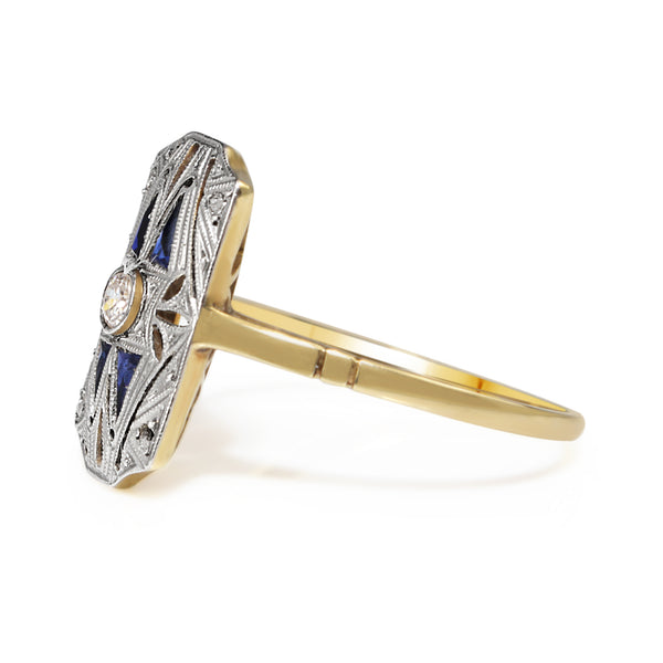 18ct Yellow and White Gold Art Deco Sapphire and Diamond Ring