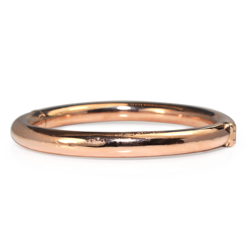 9ct Rose Gold Copper Lined Hinged Vintage Bangle