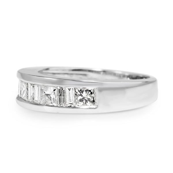 14ct White Gold Baguette and Princess Cut Diamond Band