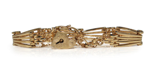 9ct Yellow Gold Antique Style Gate Link Bracelet